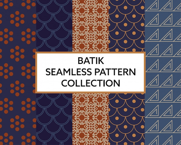 Batik fabric seamless pattern collection vector Premium Vector