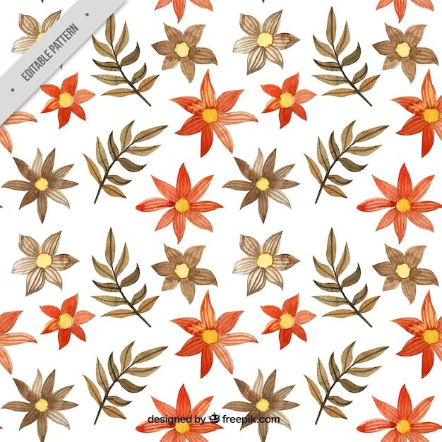 Batik pattern of flowers and watercolor leaves Free Vector