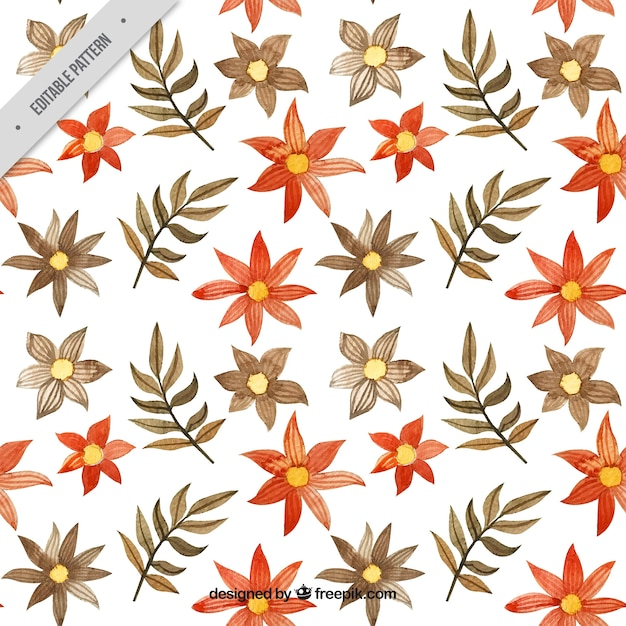 Batik pattern of flowers and watercolor leaves Free Vector