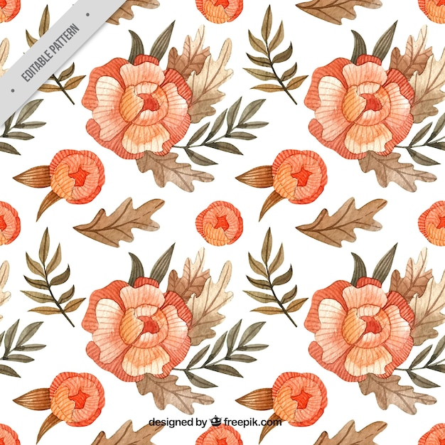 Batik pattern of watercolor flowers Free Vector