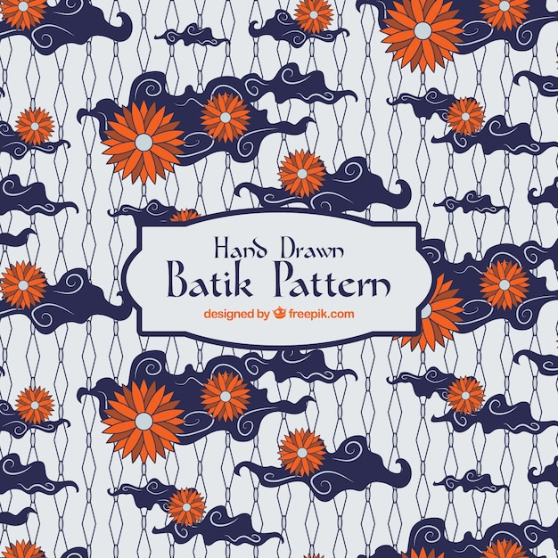 Batik Pattern With Flowers And Clouds Vector