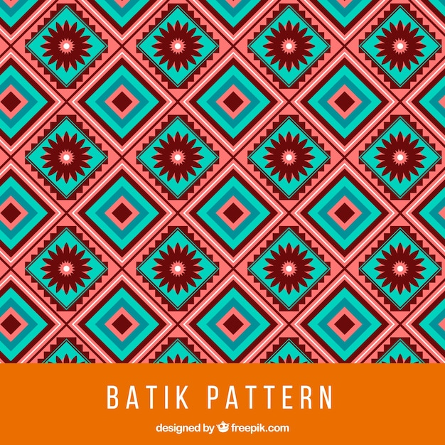 Batik Pattern With Squares And Flowers Vector