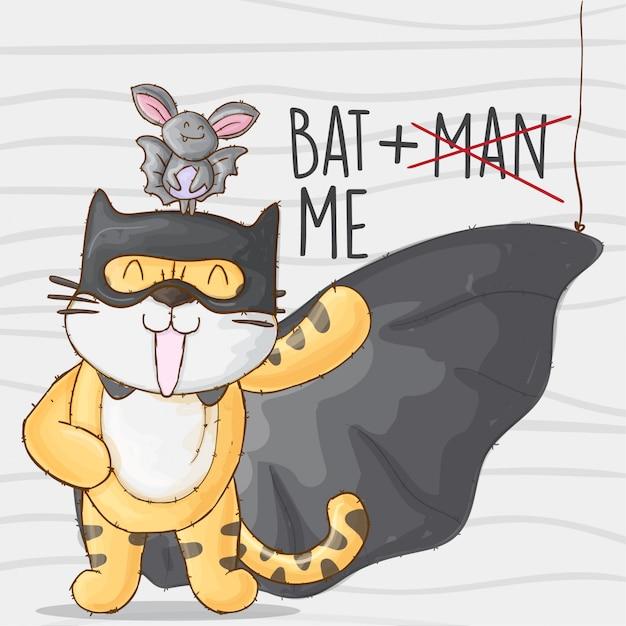 Batman tiger and bat. cute tiger animal little hero Premium Vector