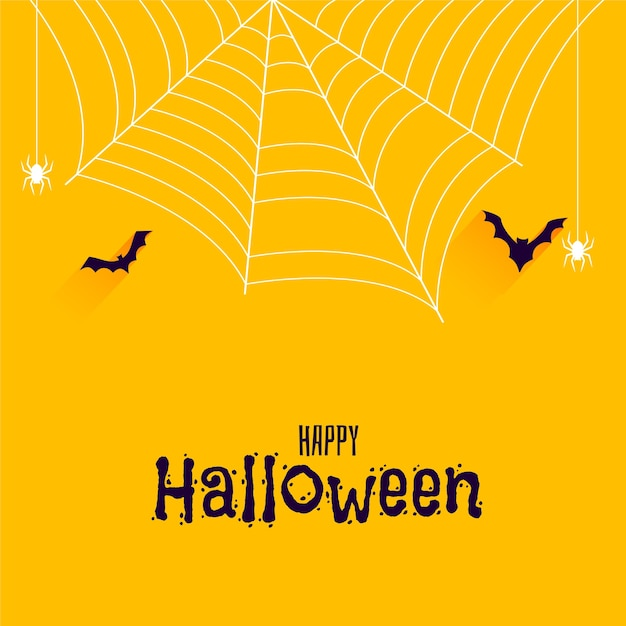 Bats and spider on happy halloween banner Free Vector