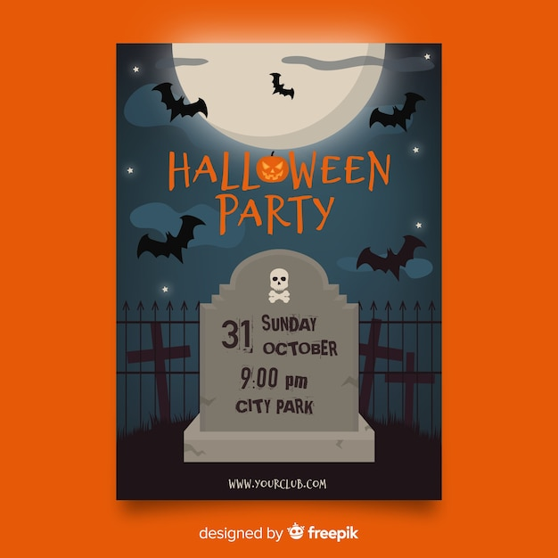 Bats and tombstone flat halloween template Free Vector