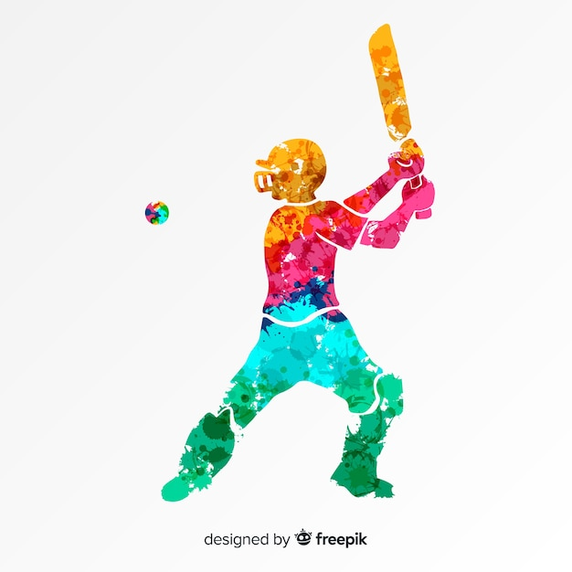 Batsman playing cricket in abstract watercolor style Free Vector