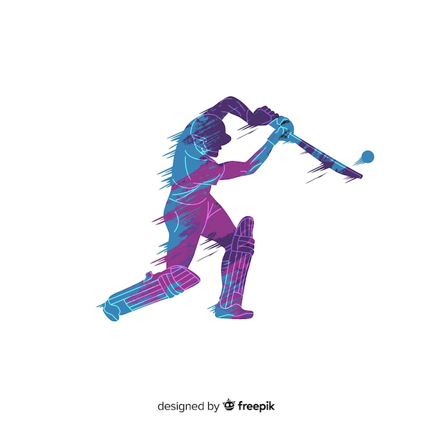 Batsman playing cricket in blue and purple watercolor style Free Vector