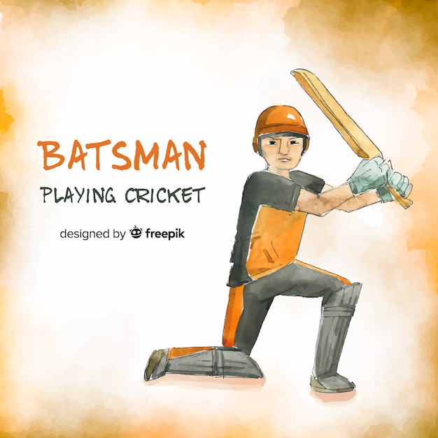 Batsman playing cricket in orange watercolor style Free Vector
