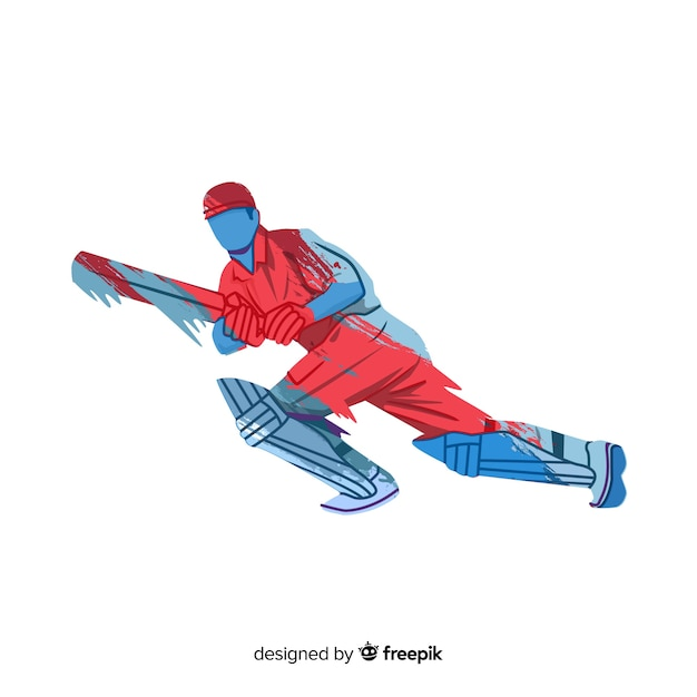 Batsman playing cricket in red and blue watercolor style Free Vector