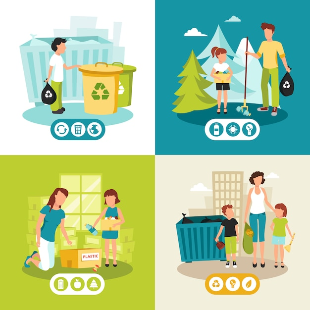 Batteries plastic and domestic waste collection for recycling flat icons square Free Vector