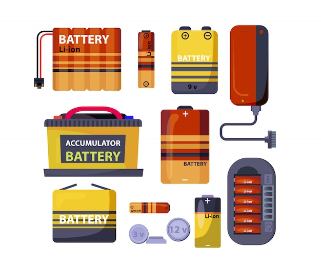 Battery and accumulator set Free Vector