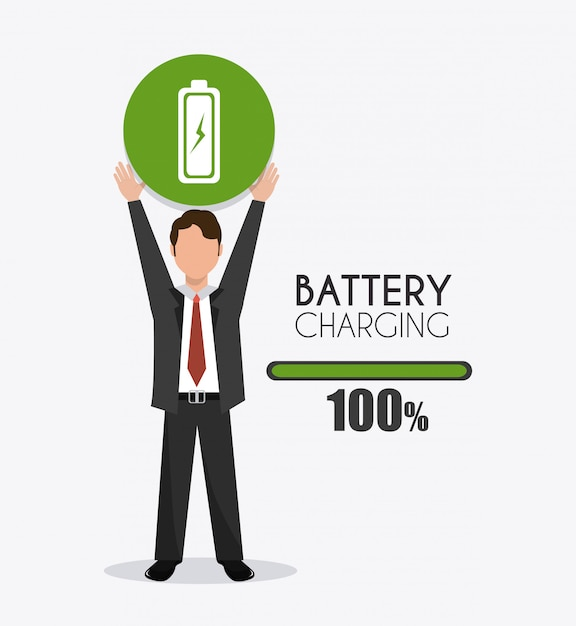 Battery design. Premium Vector