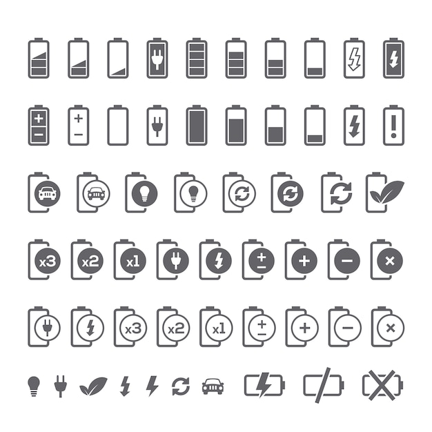 Battery icons collection Free Vector