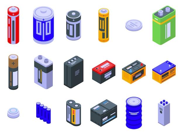 Battery icons set Premium Vector