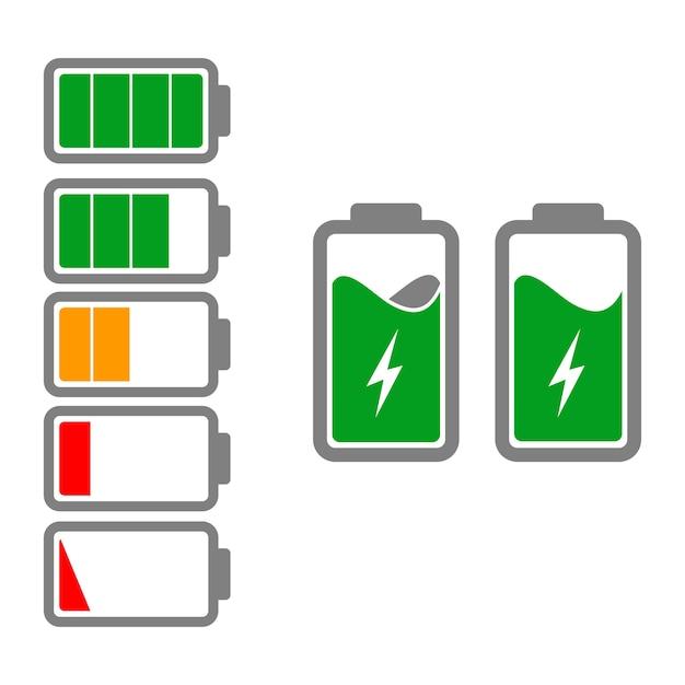 Battery icons Premium Vector