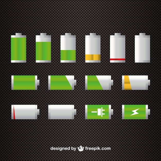 Battery level icons Free Vector