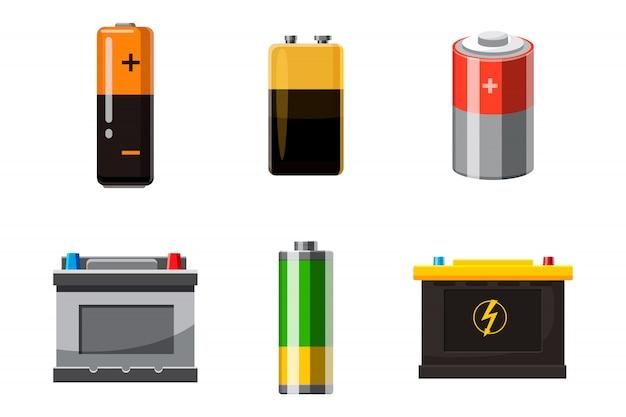 Battery objects set. cartoon set of battery Premium Vector