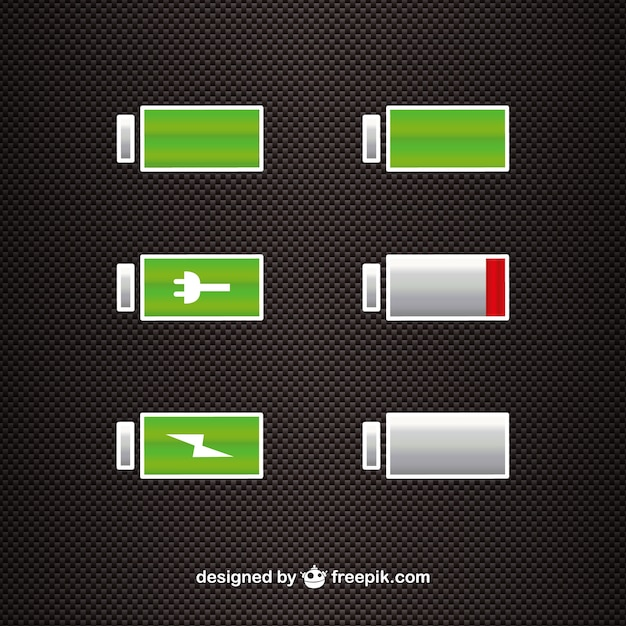 Battery power level icons Free Vector