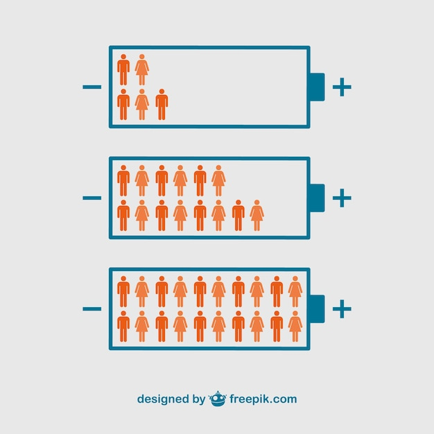 Battery power with people inside icons Free Vector