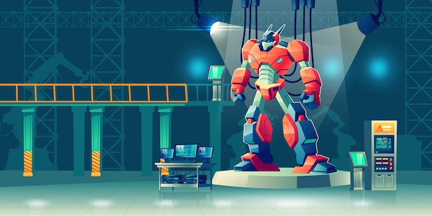 Battle robot transformer in science laboratory. Free Vector