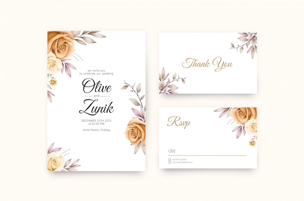 Свадебные приглашения bautiful с розами и желтой акварелью Premium векторы