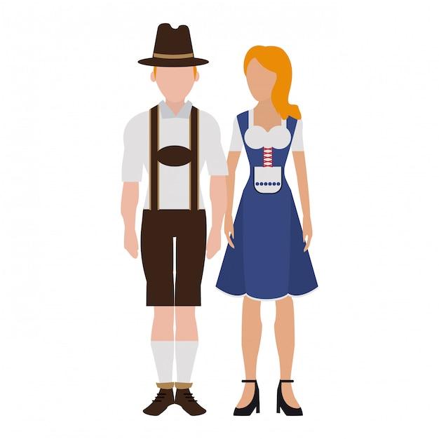 Bavarian couple avatar Premium Vector