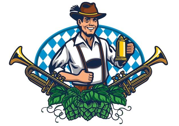 Bavarian man badge design for oktoberfest Premium Vector