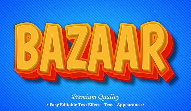 Bazaar  editable text style effect Premium Vector