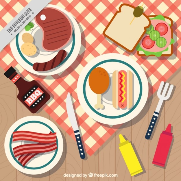 Bbq and picnic with dishes background