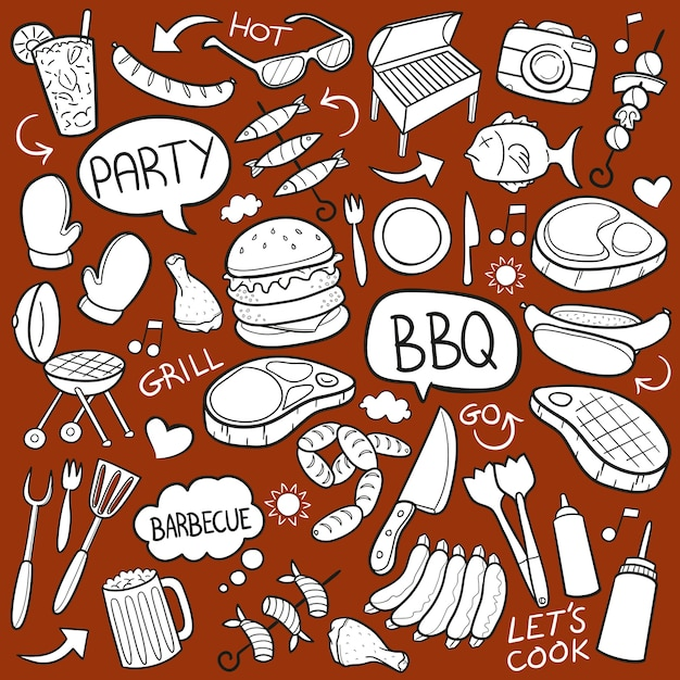 Bbq barbecue party grill doodle Premium Vector
