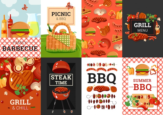 Bbq barbecue picnic banners set Free Vector