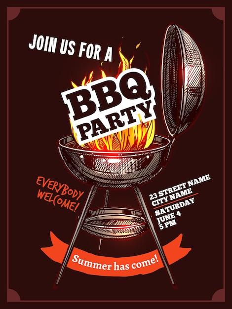Барбекю барбекю винтаж цветной плакат партии с огнем Premium векторы