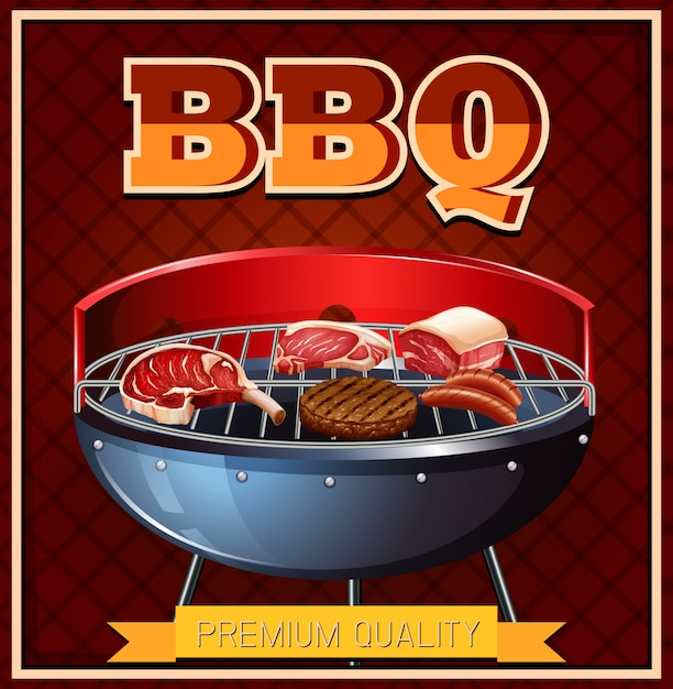 Bbq beef on grill Free Vector