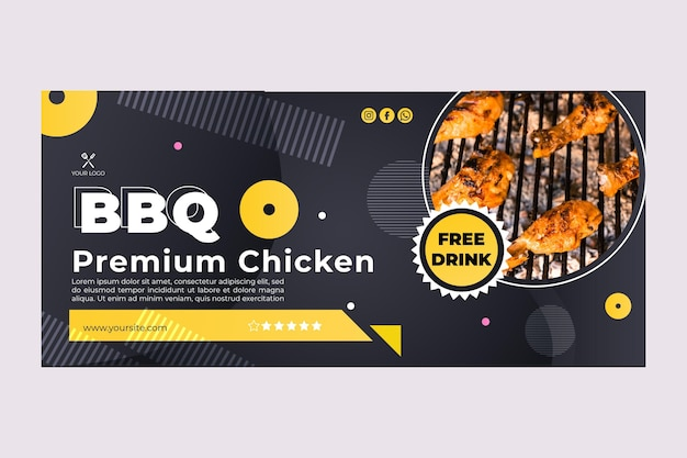 Bbq best fast food restaurant banner web template Free Vector