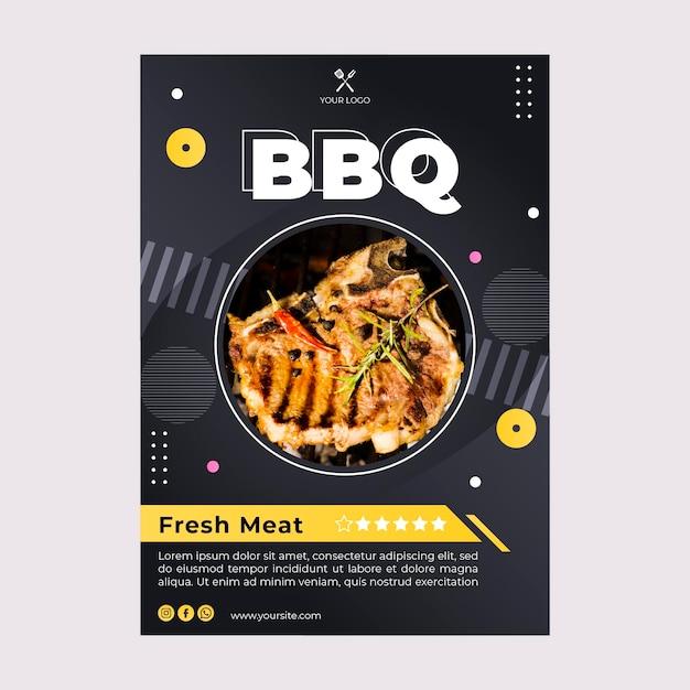 Шаблон флаера лучшего ресторана быстрого питания барбекю Бесплатные векторы