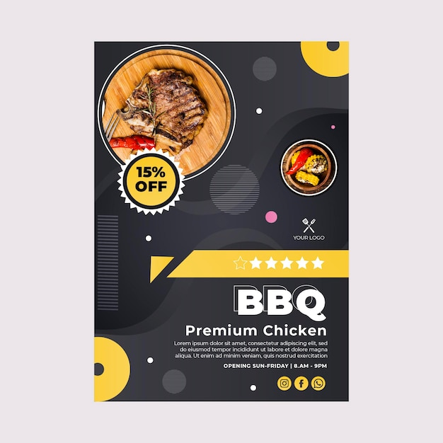 Bbq best fast food restaurant poster template Free Vector