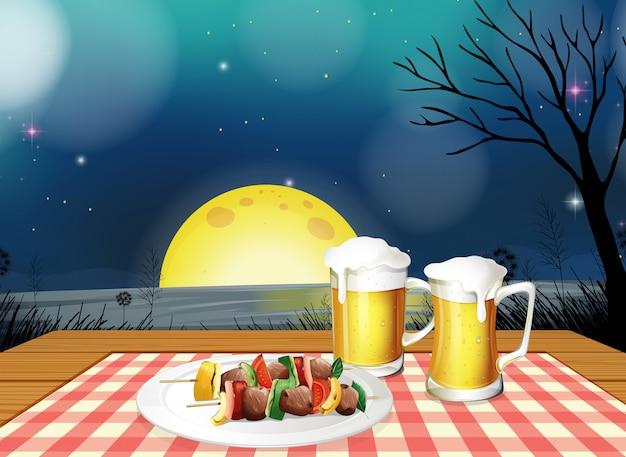 Bbq dinner with cold beer Premium Vector