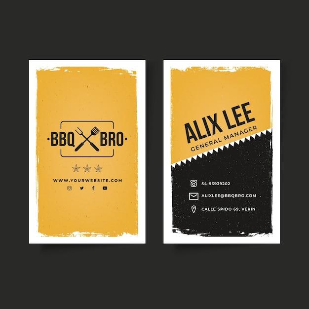 Двусторонняя визитка барбекю Premium векторы