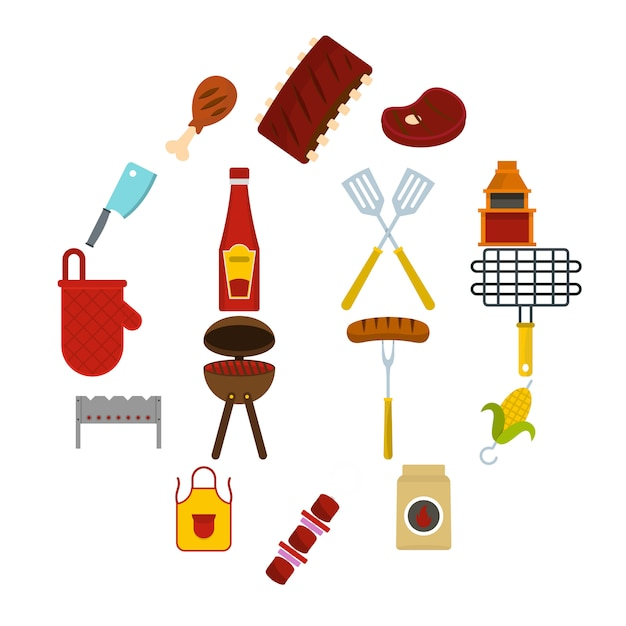 Bbq food icons set in flat style Premium Vector