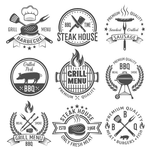 Emblemi piatti grafici bbq Vettore gratuito