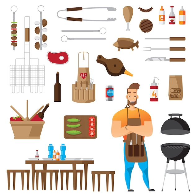 Bbq and grill accessories flat icons set isolated Free Vector