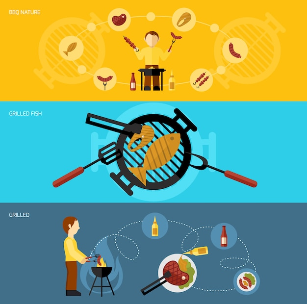 Bbq grill banner set Free Vector