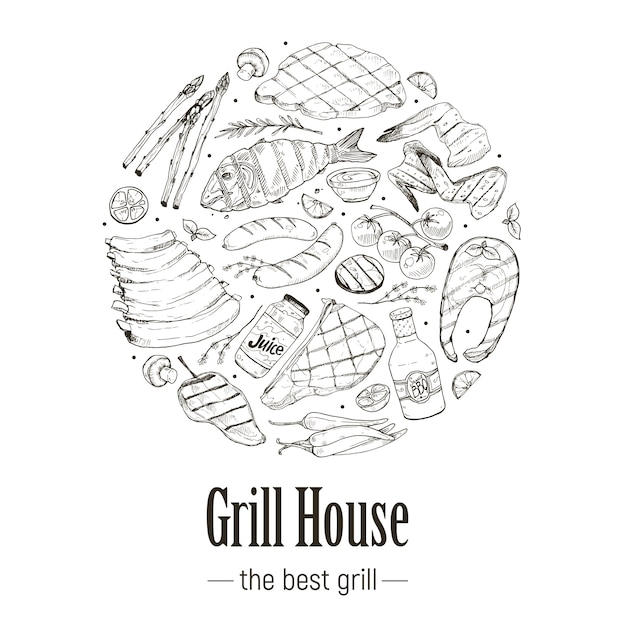 Bbq and grill banner Premium Vector