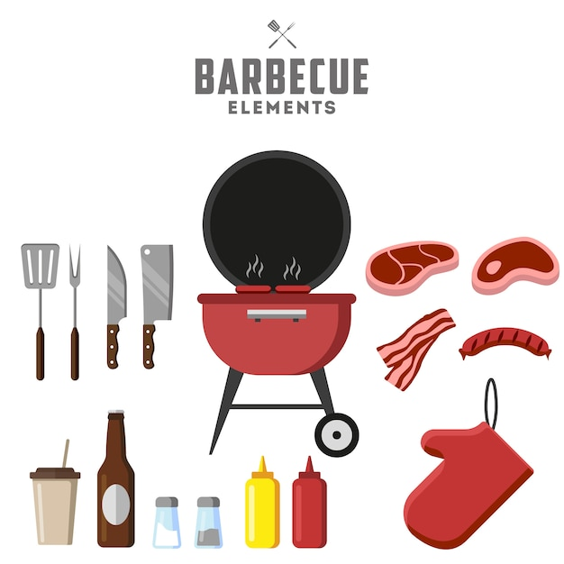 Bbq grill and food grilled, tools. meat, steak and sausage. Premium Vector