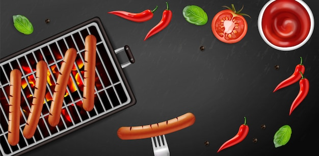Bbq grill hot dog banner tasty menu Premium Vector