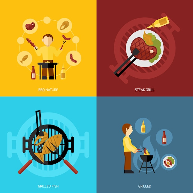 Bbq grill icon flat Free Vector