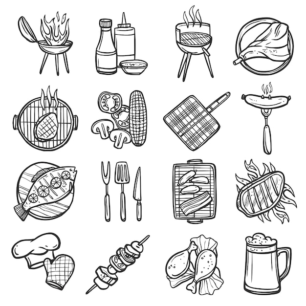 Bbq grill icons set Free Vector