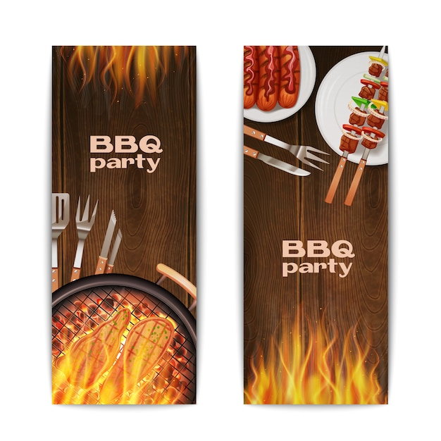 Bbq grill party vertical banners set Free Vector