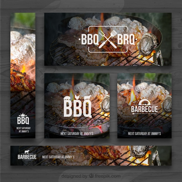 bbq invitation set vector free download