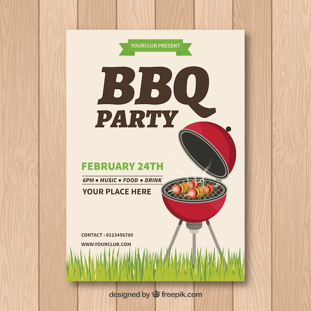 Bbq invitation template with grill Vector | Free Download